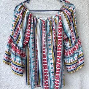 Black bead Boho off shoulder blouse Sz L